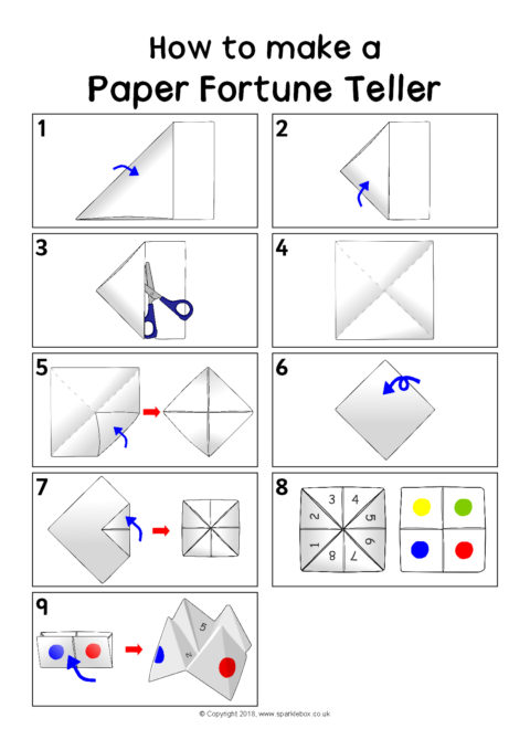 How to make a paper folding fortune teller