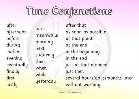 time connectives conjunctions word mats sb11831 sparklebox. Black Bedroom Furniture Sets. Home Design Ideas