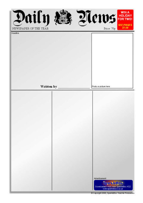 Newspaper writing templates sb6535 sparklebox for Free printable newspaper template for students