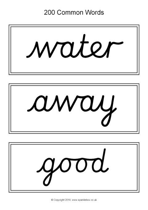 next 200 common word cards  u2013 cursive  u2013 black and white