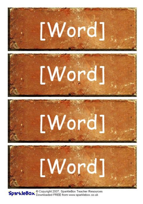 editable word wall bricks templates  sb323