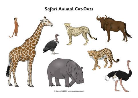 safari animal cutouts sb10301 sparklebox