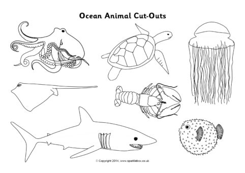 Ocean Animal Cut Outs Black And White Sb10310 Sparklebox