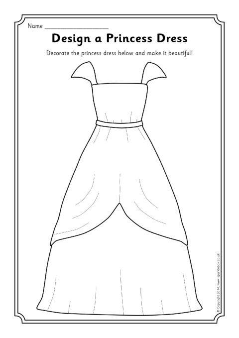Design A Princess Dress Worksheet Sb10670 Sparklebox