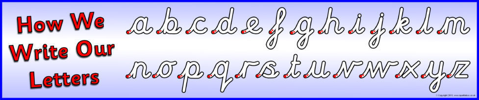 how we write our letters display banner  u2013 cursive  sb11112