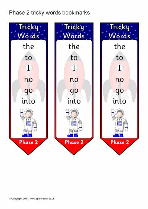 Phase 2 Tricky Words on Bookmarks (SB5807) - SparkleBox