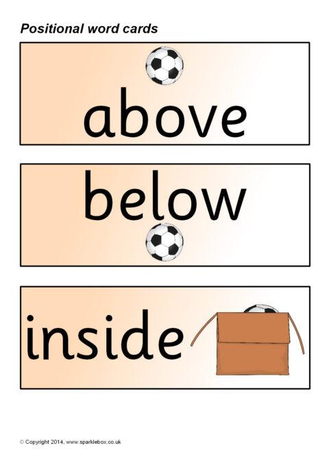 positional vocabulary cards sb219 sparklebox