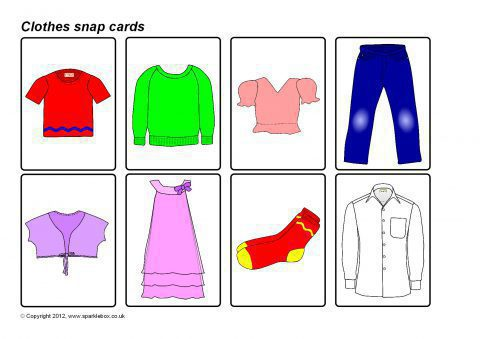 graphic relating to Printable Clothes identify Garments Snap Playing cards (SB7878) - SparkleBox