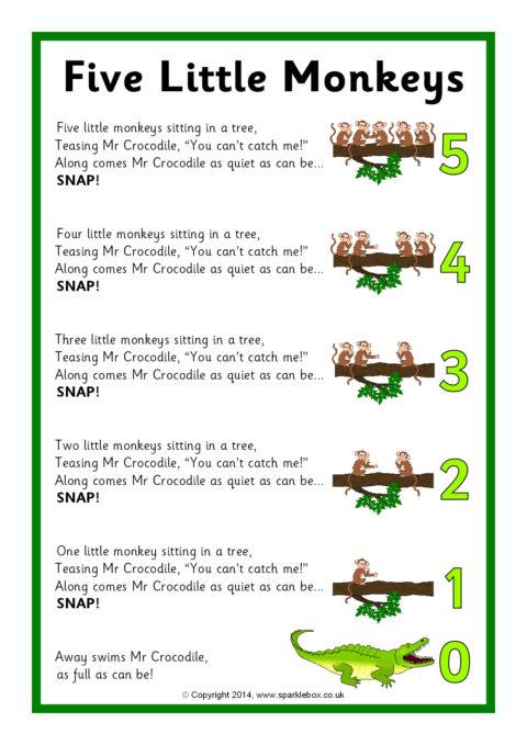 Five Little Monkeys Song Sheet (SB10880) - SparkleBox