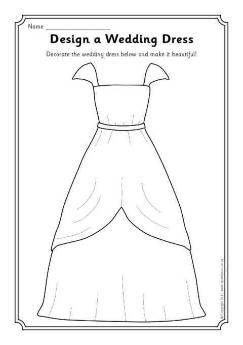 Design a wedding dress worksheet sb4089 sparklebox preview junglespirit Gallery