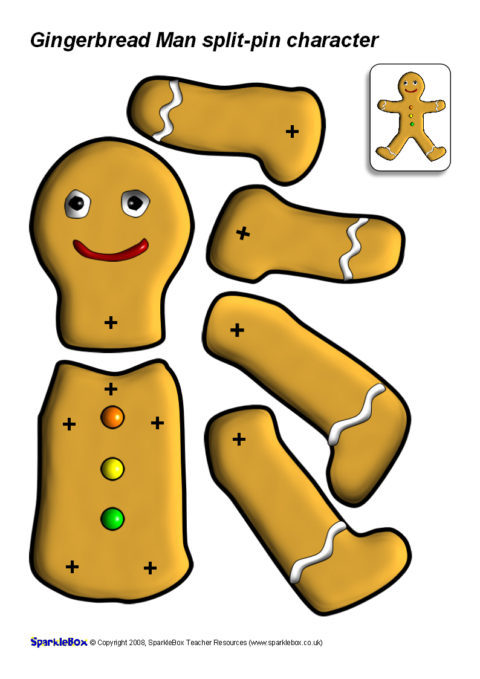 photo about Gingerbread Printable identified as Break-Pin Gingerbread Guy (SB1355) - SparkleBox