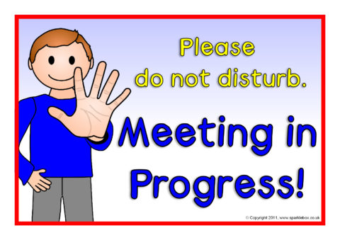 Meeting In Progress Signs Sb5450 Sparklebox