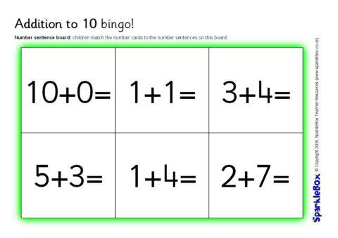 image about Addition Bingo Printable titled Addition toward 10 Bingo (SB1717) - SparkleBox