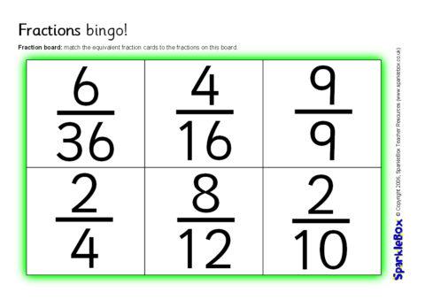 graphic relating to Fraction Bingo Printable named Identical Fractions Bingo (SB6742) - SparkleBox