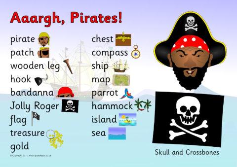 Pirates Word Mat Sb6011 Sparklebox