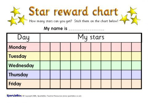 Printable Primary School Sticker Charts SparkleBox – Sticker Chart
