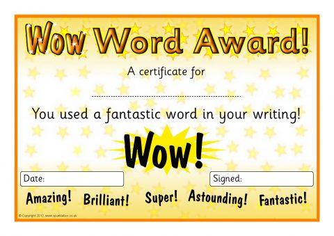 Wow Words Award Certificates (SB7125) - SparkleBox