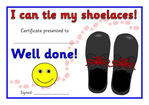 I can tie my Shoelaces Certificates (SB5302) - SparkleBox