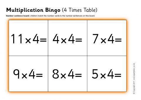 Multiplication Bingo 4 Times Table Sb12042 Sparklebox