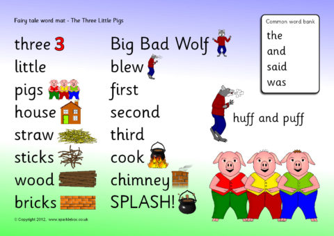 Three Little Pigs Word Mat Sb4161 Sparklebox