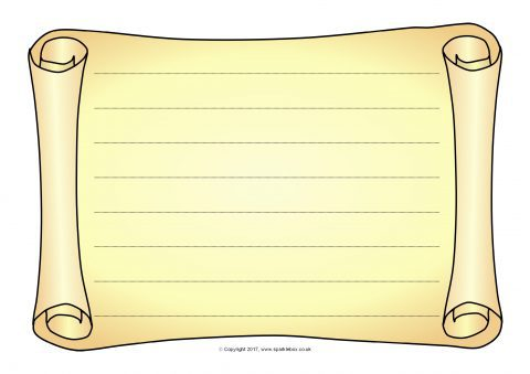 Sb12052 Landscape Scrollparchment A4 Page Borders Lined on Blank English Sheets