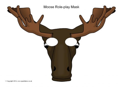 photograph about Moose Template Printable named Moose Position-Participate in Masks (SB10280) - SparkleBox