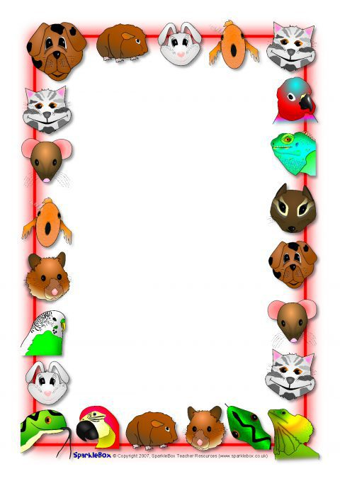 Pets Themed A4 Page Borders SB3975 SparkleBox