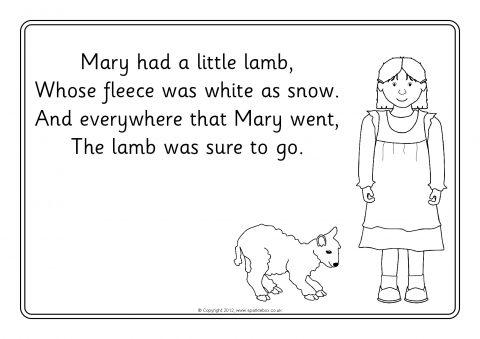 Mary Had A Little Lamb Colouring Sheets Sb8213 Sparklebox