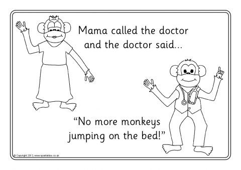 Five little monkeys jumping on the bed colouring sheets for Five little monkeys jumping on the bed coloring pages