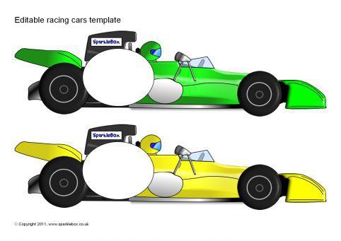 Editable Racing Car Templates (SB6320) - SparkleBox