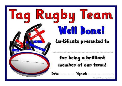 Tag Rugby Award Certificates (SB8031) - SparkleBox