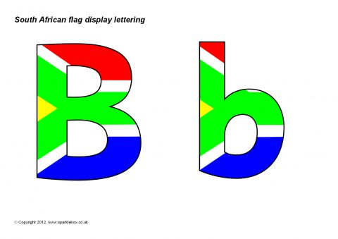 South Africa Flag Display Lettering SB8247 SparkleBox