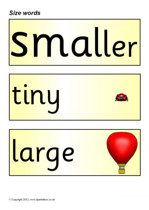 size word cards  sb1141