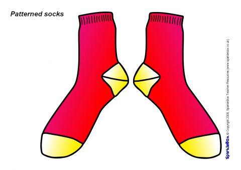 picture regarding Sock Template Printable referred to as Patterned Socks (SB1212) - SparkleBox
