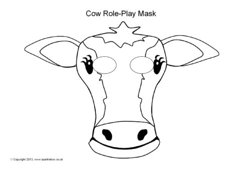 image relating to Printable Cow Mask named Cow Purpose-Enjoy Masks (SB9253) - SparkleBox