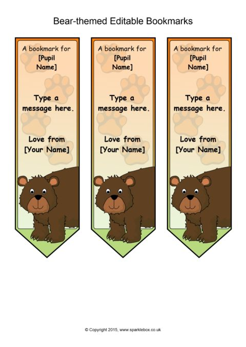 bear-themed editable bookmark templates  sb11069