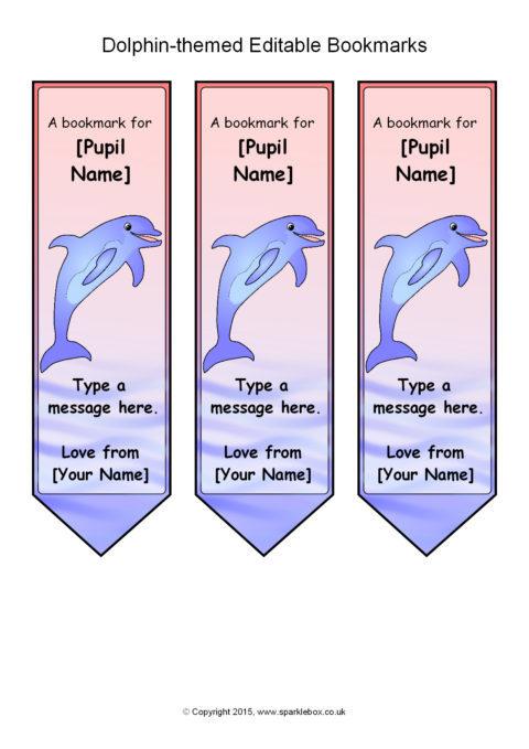 dolphin -themed editable bookmark templates  sb11071