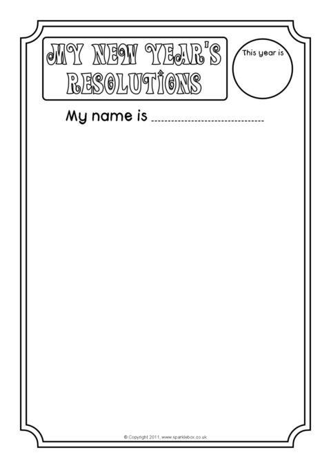 New Year\'s Resolutions Writing Frames (SB7021) - SparkleBox