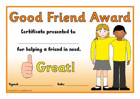Good Friend Award Certificates (SB7845) - SparkleBox