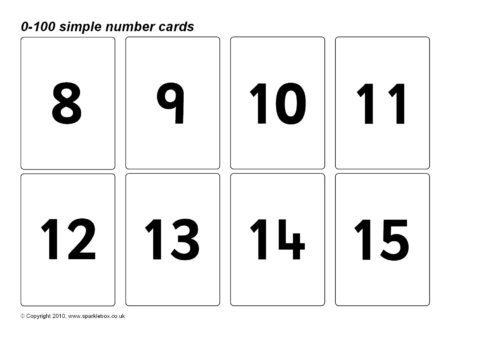 simple 0 100 number cards sb128 sparklebox