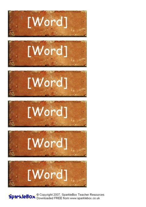 Editable word wall bricks templates sb323 sparklebox for Word wall template printable