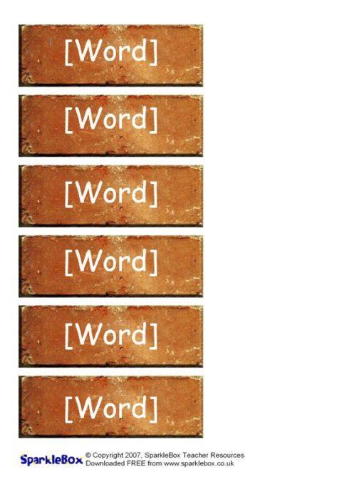 Editable Word Wall Bricks Templates (SB323) - SparkleBox