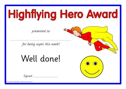 superhero award certificates