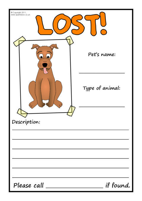 Lost Pet Poster Writing Frames Sb4249 Sparklebox