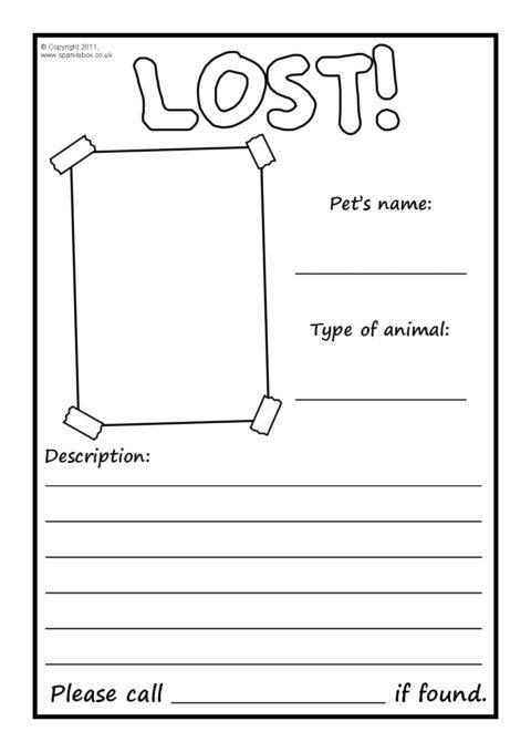 Lost Pet Poster Writing Frames – Blank (SB4250) - SparkleBox