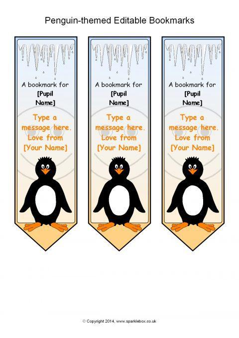 Penguin-themed Editable Bookmarks  Sb10632