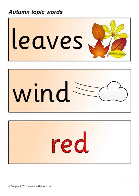 Words Related To Autumn: Autumn Topic Word Cards (SB450)