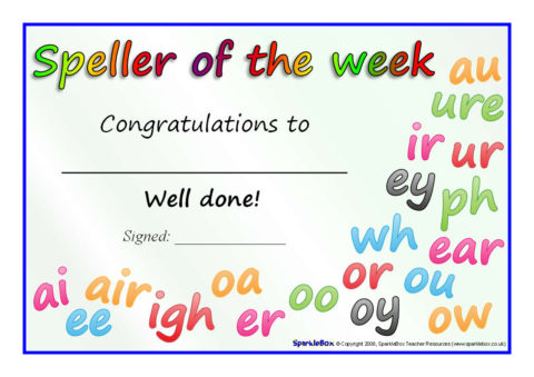 Reader, Writer and Speller of the Week Certificates