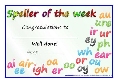 Reader, Writer and Speller of the Week Certificates