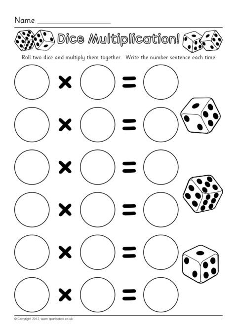 photograph about Printable Math Dice Games named Cube Multiplication Worksheets (SB7330) - SparkleBox